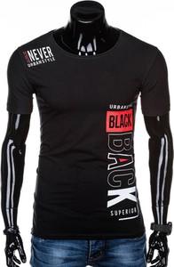 Czarny t-shirt Edoti z nadrukiem