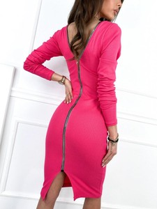 Różowa sukienka Infinityfashion.pl mini z długim rękawem