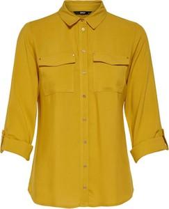 Żółta koszula Only z kołnierzykiem w stylu casual