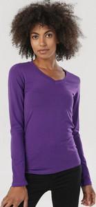 Fioletowa bluzka born2be z okrągłym dekoltem z długim rękawem