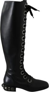 Czarne kozaki Dolce & Gabbana ze skóry