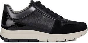 Czarne buty sportowe Geox ze skóry sznurowane