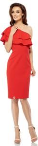 Czerwona sukienka Lemoniade z asymetrycznym dekoltem midi