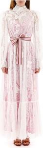 Różowa sukienka Zimmermann maxi z długim rękawem