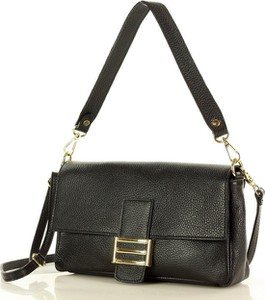 Czarna torebka MAZZINI ze skóry na ramię