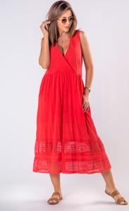 Sukienka Ptakmoda.com z bawełny z odkrytymi ramionami bez rękawów