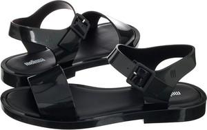 Czarne sandały Melissa w stylu casual z klamrami z płaską podeszwą