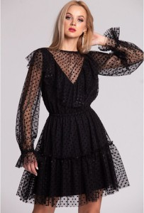 Sukienka Swing Polish Fashion Concept mini z długim rękawem