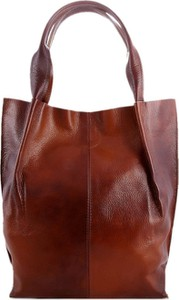 Brązowa torebka TrendyTorebki do ręki lakierowana duża