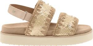 Złote sandały MOU z klamrami