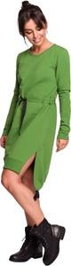 Zielona sukienka Be z dzianiny z długim rękawem