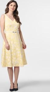 Żółta sukienka comma, z dekoltem w kształcie litery v midi