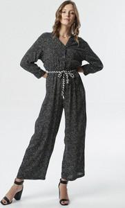 Czarny kombinezon born2be z nadrukiem w stylu boho z długimi nogawkami