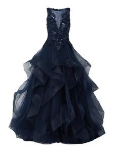Granatowa sukienka Luxuar z satyny