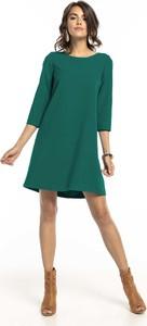 Zielona sukienka Tessita mini z długim rękawem trapezowa