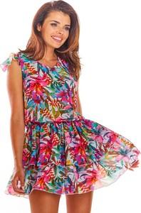 Sukienka Awama z szyfonu w stylu casual z dekoltem w kształcie litery v