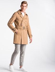 Brązowy płaszcz męski Ombre_Premium w stylu casual