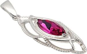 Polcarat Design Srebrny wisiorek z kryształem Swarovskiego W 1901 : Kolor - Fuchsia