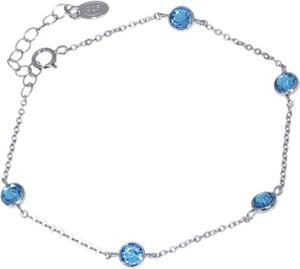 Monarti Bransoletka srebrna z kryształami Swarovski elements Aquamarine