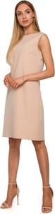Sukienka MOE z okrągłym dekoltem z tkaniny bez rękawów