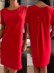 Czerwona sukienka ModnaKiecka.pl prosta mini z okrągłym dekoltem