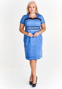 Niebieska sukienka Fokus z krótkim rękawem w młodzieżowym stylu z tkaniny