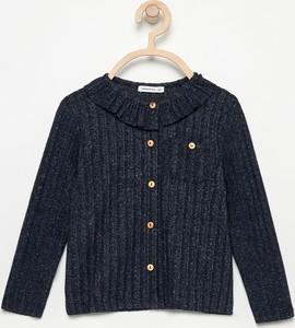 Granatowa bluzka dziecięca Reserved z długim rękawem z dzianiny