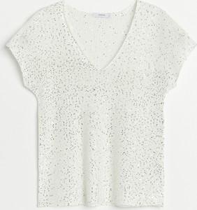 Srebrny t-shirt Reserved z krótkim rękawem