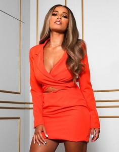 Pomarańczowa sukienka Public Desire kopertowa mini z długim rękawem