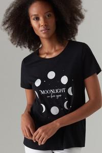 Czarny t-shirt Mohito z okrągłym dekoltem