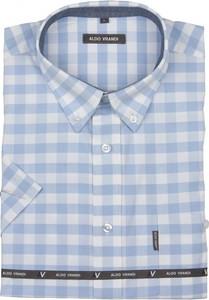 Niebieska koszula Aldo Vrandi z krótkim rękawem z bawełny w stylu casual