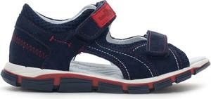Granatowe buty dziecięce letnie RenBut na rzepy ze skóry