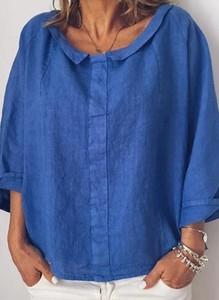 Niebieska bluzka Sandbella z długim rękawem z dekoltem w kształcie litery v w stylu casual