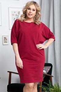 Czerwona sukienka KARKO w stylu casual dla puszystych z długim rękawem