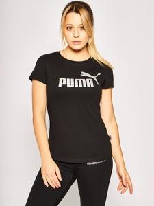 Czarny t-shirt Puma z okrągłym dekoltem w sportowym stylu