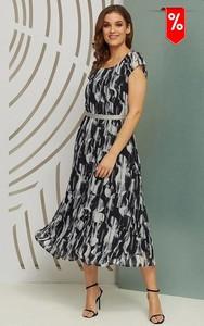 Sukienka Kaskada z dekoltem w kształcie litery v maxi z krótkim rękawem