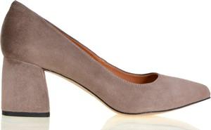 Brązowe czółenka lizard-shoes.com na obcasie