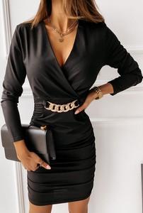Czarna sukienka Sandbella z długim rękawem mini z satyny