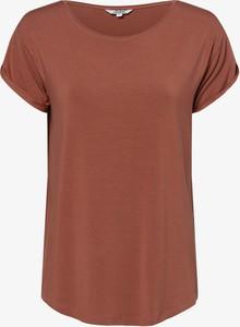 Pomarańczowy t-shirt mbyM z krótkim rękawem z okrągłym dekoltem