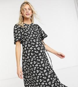 New Look Maternity – Czarna wzorzysta sukienka midi ze zwiewnymi rozszerzanymi rękawkami-Czarny