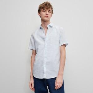 Niebieska koszula Reserved z klasycznym kołnierzykiem z krótkim rękawem z tkaniny