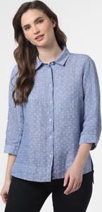Niebieska bluzka Franco Callegari w stylu casual z lnu z długim rękawem