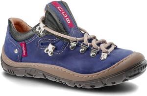 Granatowe buty trekkingowe NAGABA ze skóry sznurowane