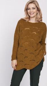 Brązowy sweter MKM z wełny w stylu casual