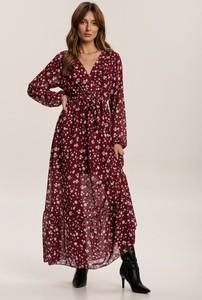 Czerwona sukienka Renee z długim rękawem z dekoltem w kształcie litery v