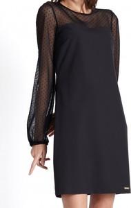 Czarna sukienka Ivon z okrągłym dekoltem mini z długim rękawem