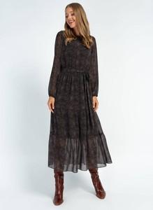Czarna sukienka Cotton Club z szyfonu z długim rękawem