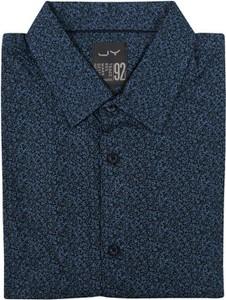 Granatowa koszula Just yuppi z długim rękawem z tkaniny z klasycznym kołnierzykiem