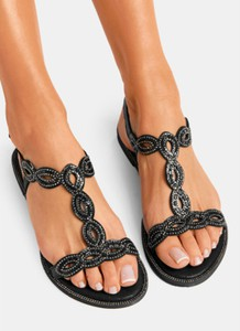 Czarne sandały DeeZee z klamrami z płaską podeszwą cd49b982d44
