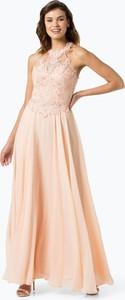 Różowa sukienka Luxuar Fashion maxi rozkloszowana z szyfonu
